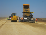 Crushed stone sand gravel mix placing at km 87